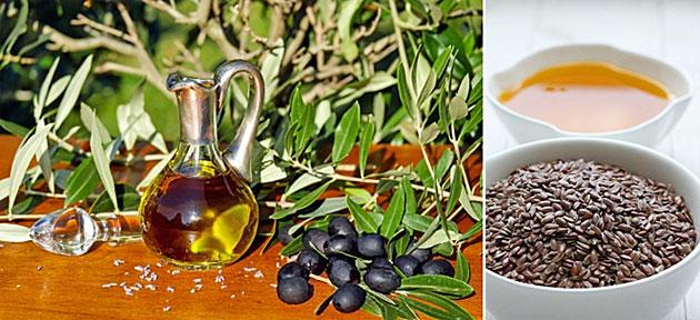 Abbildung 1: Oliven und Olivenöl, Leinsamen und Leinöl.